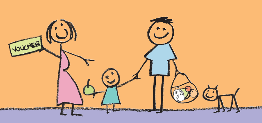 Cartoon of family holding voucher
