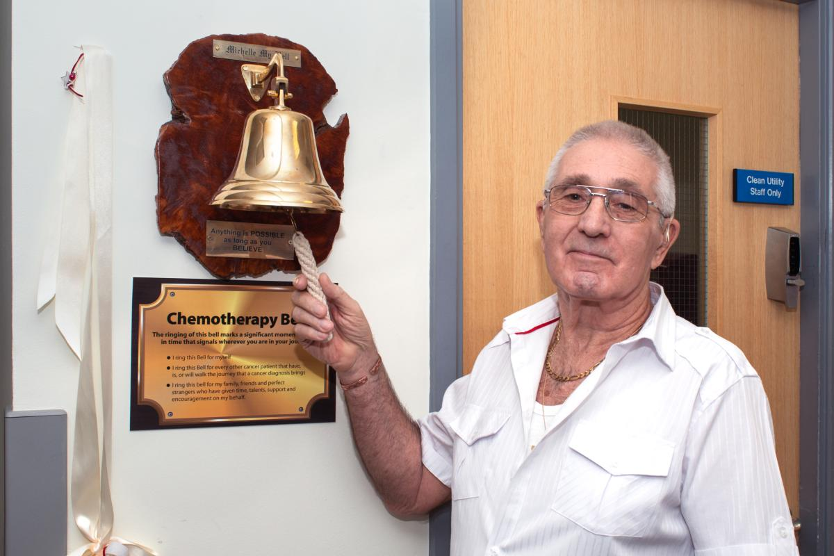Mick Stacey donation of chemotherapy bell QEH