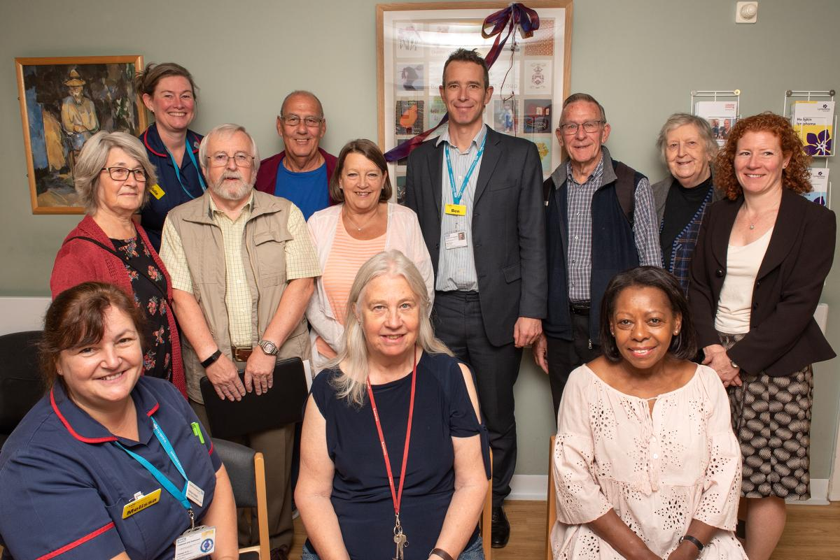 Members of the bowel cancerl support group with Ben Travis.jpg