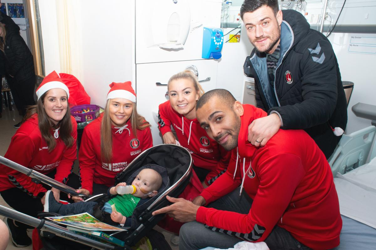 Charlton and Charlton Women's players with patients
